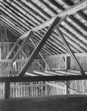 Barn, Framing from Loft, ca. 1992; gelatin silver print; collection San Francisco Museum of Modern Art. Accessions Committee Fund purchase; © John Szarkowski (Plate # 57)