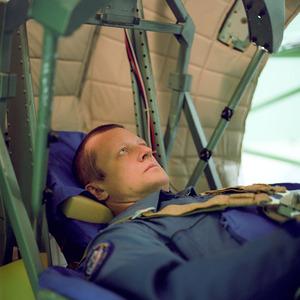 Cosmonaut, Kondratyev, TsF-7 dynamic trainer centrifuge, Star City.  © Maria Gruzdeva