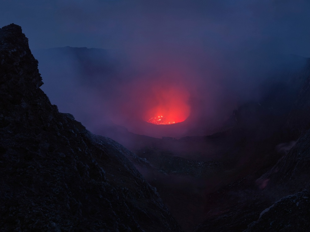 Nyiragongo volcano, Virunga National Park, Democratic Republic of Congo. Thymann and his team had to to endure freezing temperatures at the volcano's ridge and then dangerous gas emissions as they got closer to the lava itself.