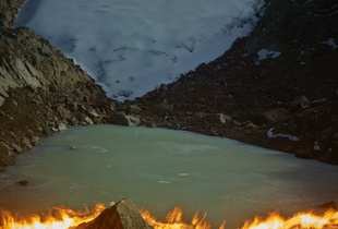 When I Am Laid In Earth: Mapping with a pyrograph, the melting away of the Lewis Glacier on Mt.Kenya. 2004