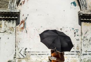 Black Umbrella, Hot Sun, Cartagena, Columbia