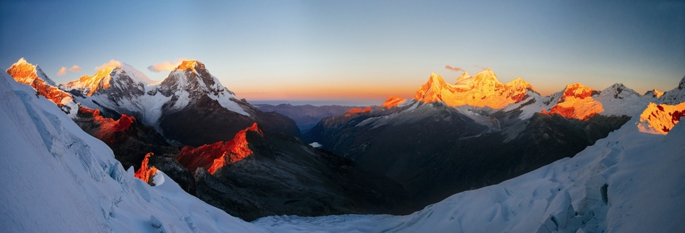 Sunrise Over Llanganuco Valley. Taken at 5100m (16,732 ft) on Yanapaccha, Cordillera Blanca, Peru, August 2013.