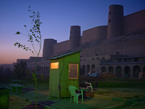 A security guards booth at the newly restored Ikhtiaruddin citadel, Herat. © Simon Norfolk.