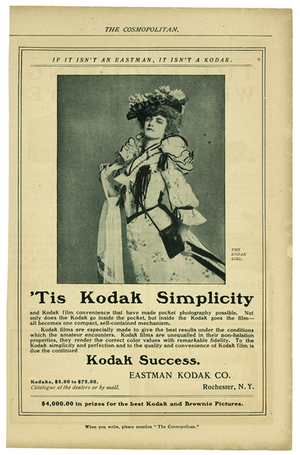 'Tis Kodak Simplicity, advertisement featuring the Kodak Girl in The Cosmopolitan Magazine, 1902.