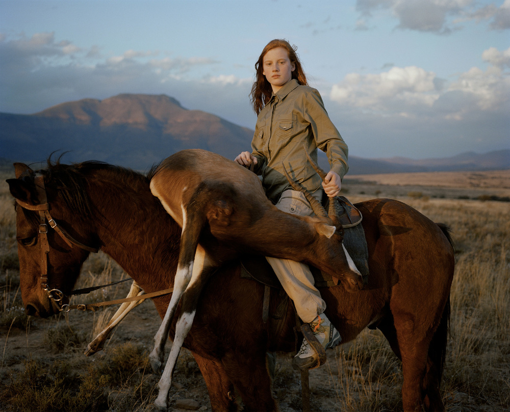 huntress with buck, south africa-from the series 'hunters'