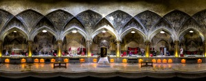Vakil bath is a very popular historical site located in Shiraz, Iran. Panoramic photo made using 4 fisheye shots © Mohammad Reza Domiri Ganji, Iran. Shortlist, Panoramic, Open Competition. 2014 Sony World Photography Awards