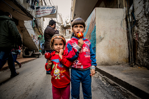 Gypsy children on Helal Street. Seven percent of the population of Shitila are gypsies. 2013 © Gloriann Liu