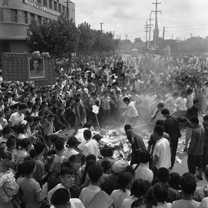 "© WANG Shilong, People burning old and traditional objects during the Cultural Revolution's ""Break the Four Olds"" movement, 1966Courtesy of 798 Photo Gallery, Beijing"