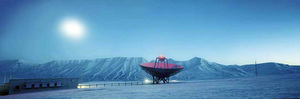 Arctic Technology:  Dish in Moonlight