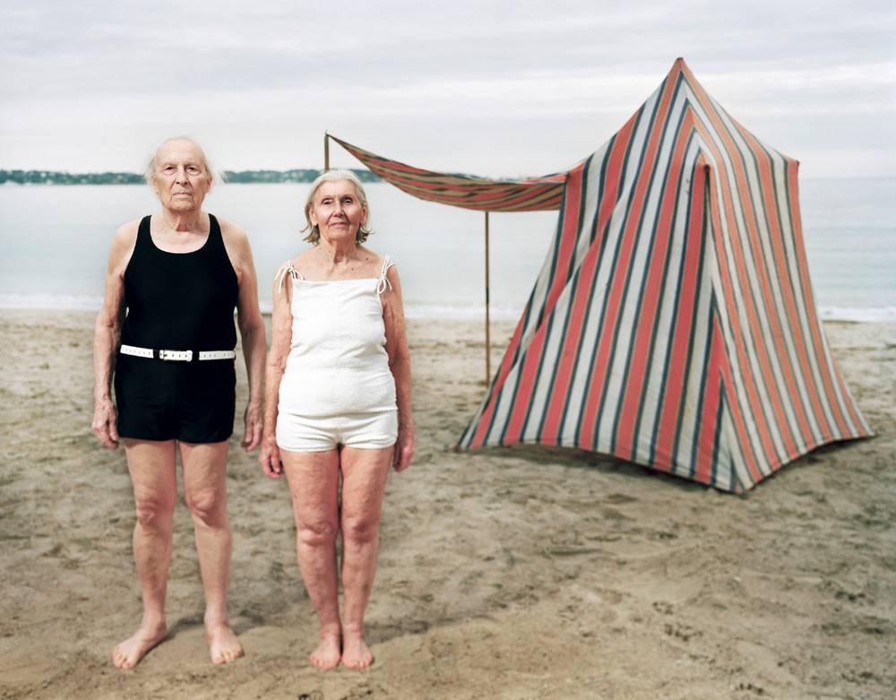 My grand parents at the beach posing in front of their tent. © Olivier Fermariello