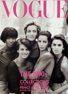 1990 American Vogue cover, featuring, from left: Naomi Campbell, Linda Evangelista, Tatjana Patitz, Christy Turlington and Cindy Crawford © Peter Lindbergh