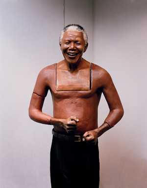 For most of the 27 years Nelson Mandela was in jail, his image was banned. Today, Mandela is everywhere. He is pillowcase and wristwatch; shebeen decoration and commemorative statue. His image is so powerful, it is again policed: reproduction requires permission from the Ministry of Trade and Industry. This Mandela model lives in the small museum at Caesar's Palace Casino outside Johannesburg.