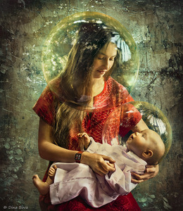 """Spheres of Unconditional Love"" - Story of unconditional love - timeless and universal...In this work the spheres serve as metaphors for spirituality and universal and unconditional love between the mother and her child. © Dina Bova"